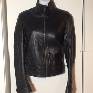 Black genuine leather Duarte jeans jacket